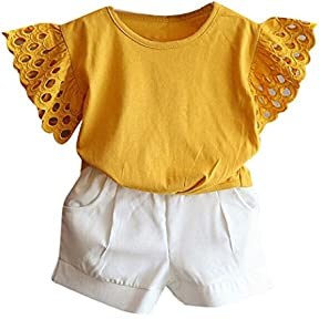 Toddler Clothes Set,kaifongfu 2PCS Kids Baby Girl Outfit Clothes Hollow Sleeve T-shirt+Short Pants Set