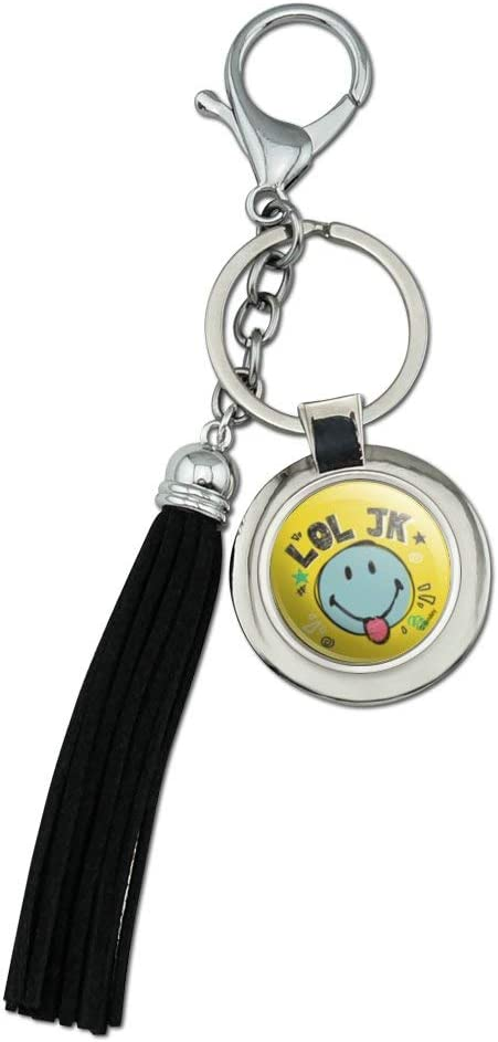 LOL JK Smiley Face Tongue Just Kidding Laugh Out Loud Officially Licensed Chrome Plated Metal Round Leather Tassel Keychain