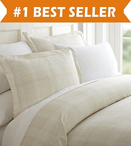 Celine Linen Luxury Silky Soft Coziest 1500 Thread Count Egyptian Quality 3-Piece Duvet Cover Set  Thatch Pattern  Wrinkle Free, 100% HypoAllergenic, Full/Queen, Cream