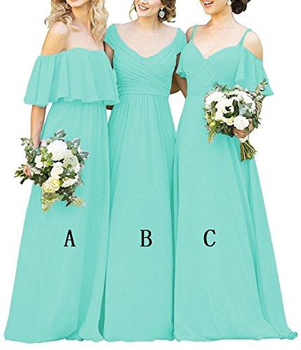 Turquoise Dresses Women's Long Evening a Cdress Ruffles Bridesmaid Shoulder Dress Gowns Formal Prom Chiffon Off xIqFFO