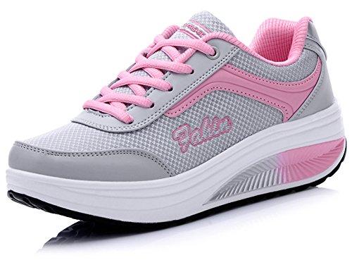 Ausom Womens Platform Wiggen Toning Schoenen Shape Ups Schoenen Wandelen Fitness Trainen Sneaker Roze