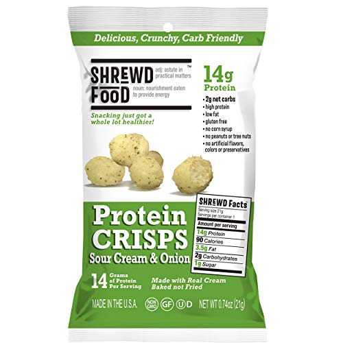 Shrewd Food Sour Cream and Onion Keto Protein Crisps 8 Pack | High Protein, Low Carb, Gluten Free Snacks | No Artificial Flavors | Soy Free, Peanut Free