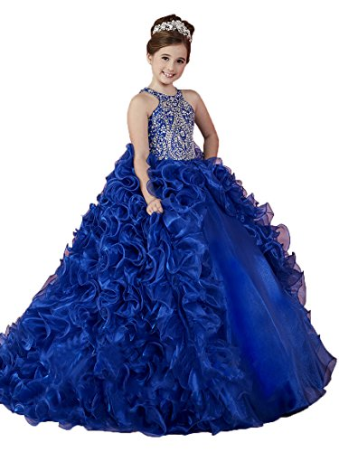 Zhiban Girls Beaded Ball Gowns Ruffled Sweep Train Pageant Dresses 8 US Royal Blue
