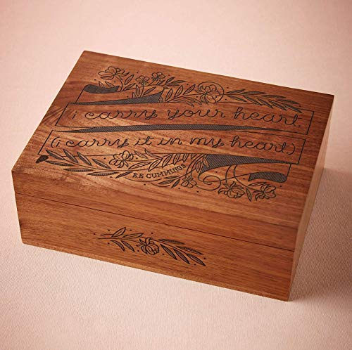 I Carry Your Heart E.E. Cummings Laser Cut Wood Keepsake Box (Wedding Gift / 5th Anniversary/Baby Shower Gift/Heirloom / Decorative/Personalized Available)