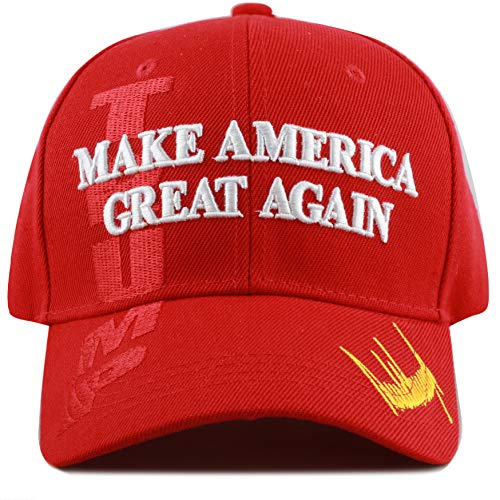 (The Hat Depot Exclusive 45th President Trump Make America Great Again 3D Cap (Red-Flag))