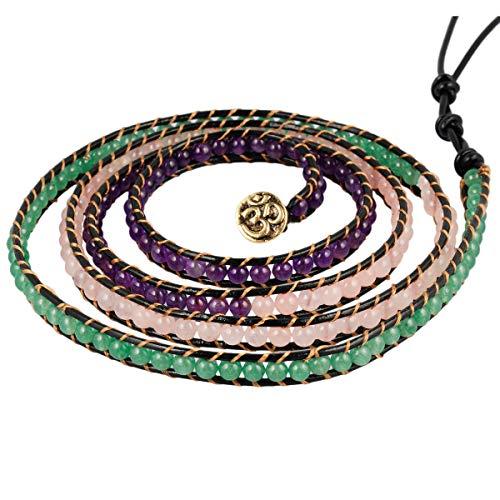 - Nupuyai Handmade Leather Beaded Stone Wraps Bracelet Collection for Unisex Mixed(Amethyst, Rose Quartz, Green Aventurine)