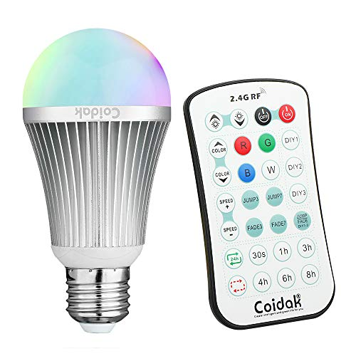 Coidak CO816 E26 RGB LED Color Changing Light Bulb with Timer & 2.4G RF Remote (Can Bypass Obstacles, Not IR), Pure White, Dimmable A19 Lamp, Aluminum Shell, 1-PACK -