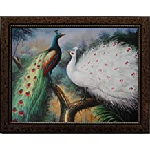 16X20 inch Gold Spot Framed Animal Canvas Print RePro White&Color Peacock Lovers