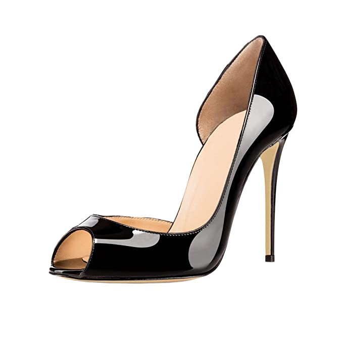 EKS Women's Zesv Pointed Peep Toe Pure Color Thin High Heels Dress Classic  Pumps: Amazon.co.uk: Shoes & Bags