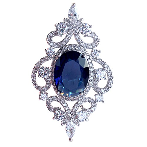 Silver Tone Brooch (SELOVO Vintage Style Women's Blue Oval Sapphire-color CZ Crystal Wedding Bridal Pin Brooch Silver Tone)