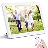 8 Inch Digital Photo Frame, NAPATEK Digital Picture Frame 1920x1080 IPS Display Electronic Picture Frame 1080P HD Video Playback with USB SD Port Music Calendar Alarm Remote Control -White