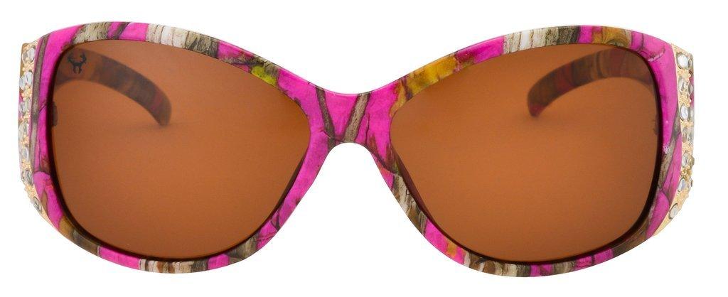 Hornz Pink Camouflage polarisierten Sonnenbrillen für Damen Strass Akzente & freie passende Beutel aus Mikrofaser xHSbEh