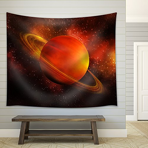 the planet Saturn in space Fabric Wall