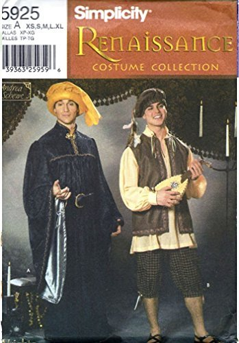 Simplicity Costume Pattern 5925 Rennaissance Men or Teen Boy Costume and Hat Size XS S M L XL -