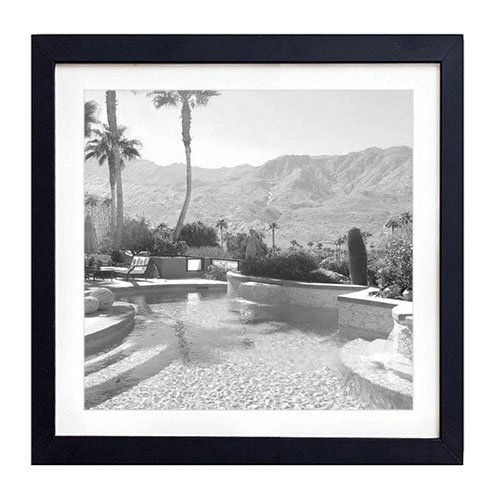 (Mid Century Modern House And Garden In Palm Springs Desert And Mountains California - Art Print Black Wood Framed Wall Art Picture For Home Decoration - Black and White 18