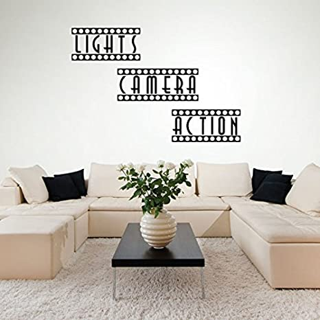 Wall Decals Home Theater Decor Theater Room Movie Room Decor Movie Theater Decor Lights Camera Action Stickers Wall Art Amazon Ca Home Kitchen