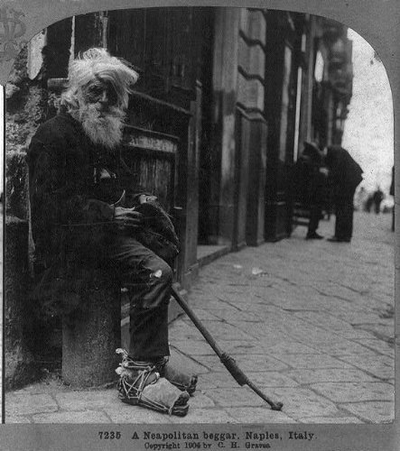 HistoricalFindings Photo: Neapolitan Beggar,Naples,Italy,c1904,Slums,Homeless Man,Beard,White Hair -