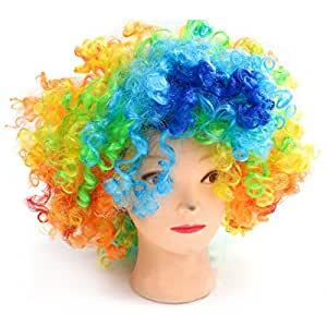 MAISHO Rainbow Afro Clown Hair Adult Child Costume Curly Wig for Sports Fan/Cheerleaders/Carnival/Cosplay/Halloween/Christmas