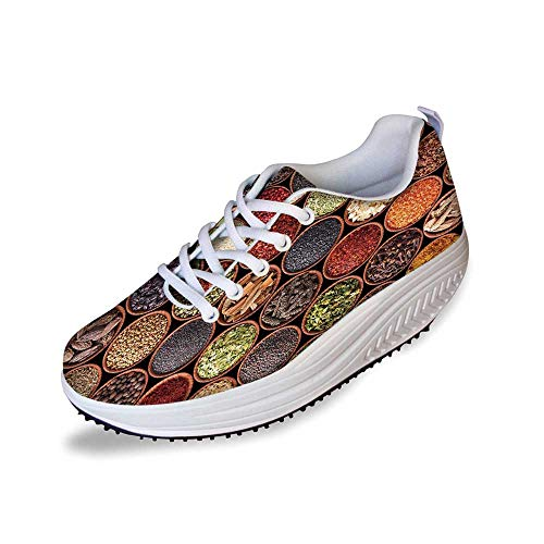 Kitchen Stylish Shake Shoes,Colorful Herbs and Spices Cardamom Pepper Chili Ginger Dill Natural Cuisine Print for Women,5