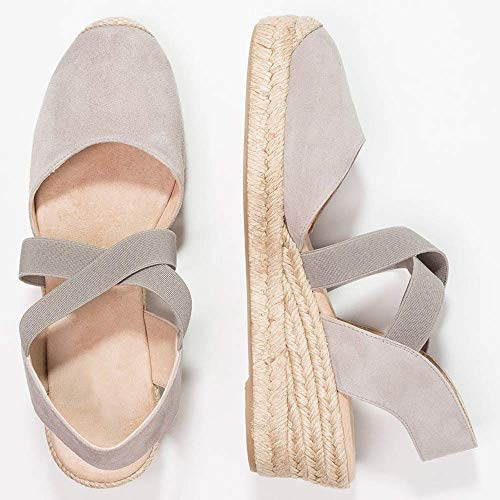 Tomwell Mujer Tacon Rivet Alpargatas Zapatos Verano Romanas Sandalias Cuña Moda Albaricoque Sandals Bohemias Playa B rq5Pr