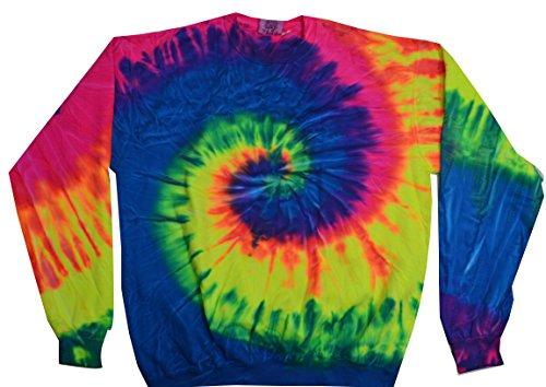 Rainbow Mens Sweatshirt - Colortone Tie Dye Sweatshirt XL Neon Rainbow