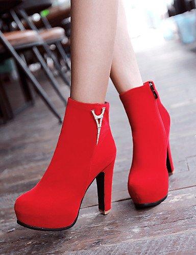7 Zapatos Semicuero Vestido Rojo Negro us6 Red Botas De Xzz Stiletto Cn37 Tacón Punta Cn39 Red Mujer 5 Eu39 5 Uk4 5 Redonda us8 Uk6 Eu37 RxdxzFwq8