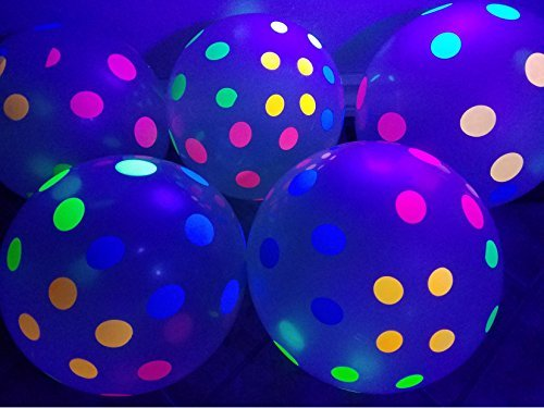 Blacklight Party Balloons - Clear Balloons with Polka Dots that Glow in the Dark under Blacklight - 25 Pack of 11 inch Clear Latex Balloons with Neon Flourescent Polka Dots -