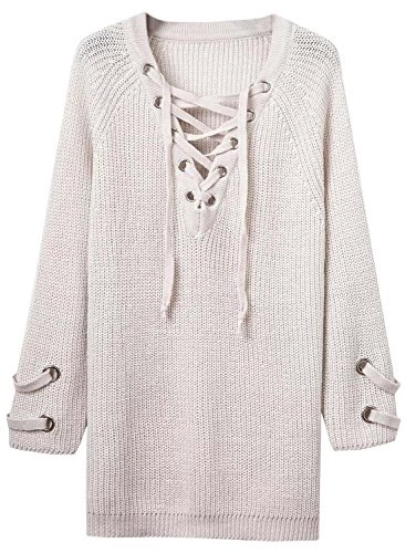 Futurino Women's Lace Up V-Neck Long Sleeve Knit Pullover Sweater Dress Top Photo #8
