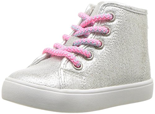 carter's Girls' Christa High-Top Sneaker, Silver, 8 M US Toddler