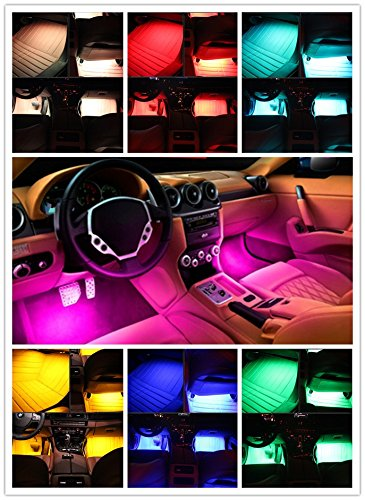 (Niree 4 PCS 8 Color LED flashes Sound Activation Interior Underdash Lighting Kit with Wireless Remote Control For Chevrolet Sail)