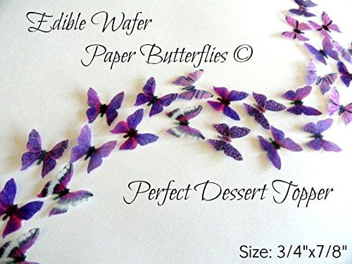 24 MINI VERY SMALL PURPLE Edible Wafer Paper Butterflies© Size 3/4