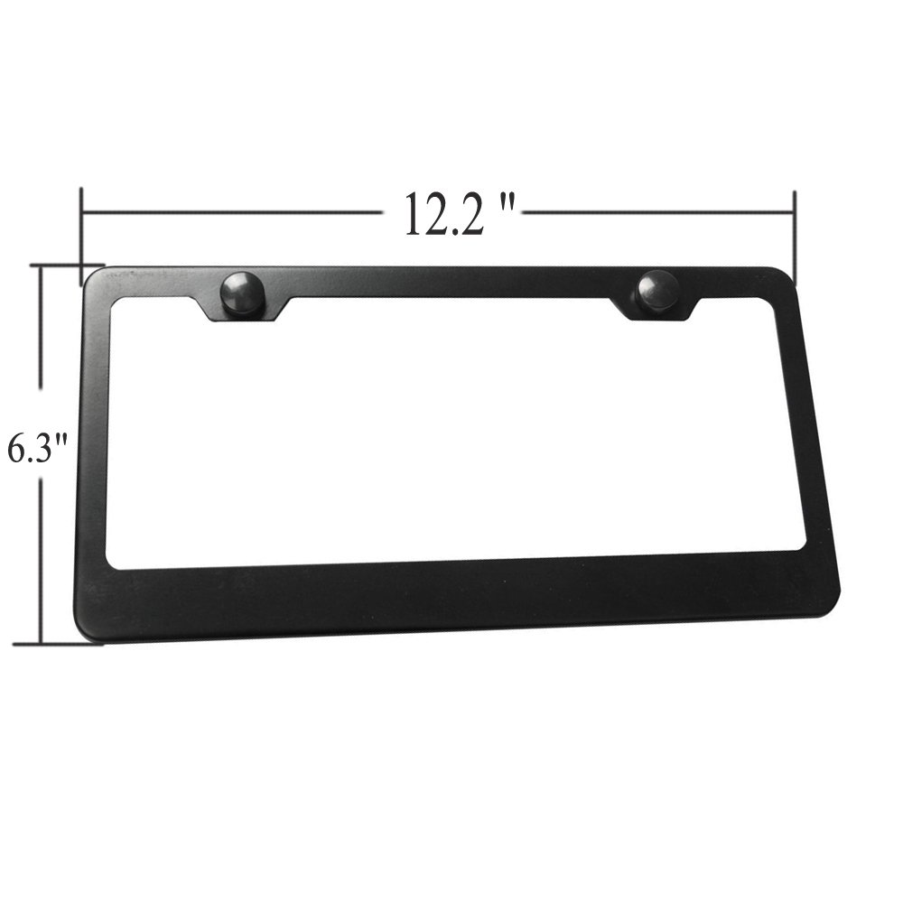 2Pcs 2 Holes Black Licenses Plates Frames Ricoy Black Aluminum License Plate Frame with Chrome Screw Caps Car Licenses Plate Covers Holders