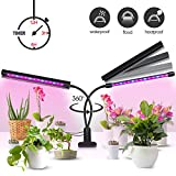 Plant Grow Light [Newest Upgraded - Lamp Cover Design] 20W Dual Head 40 LED 5 Dimmable Levels Grow Lights for Indoor Plant with 3/6/12H Automatic Cycle Timer, Red/Blue Spectrum, Adjustable Gooseneck