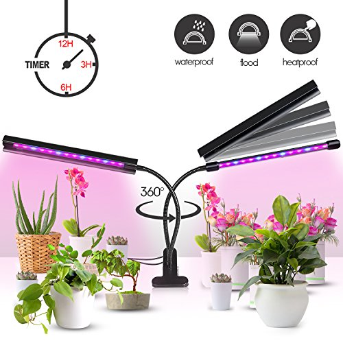 Plant Grow Light [Newest Upgraded - Lamp Cover Design] 20W Dual Head 40 LED 5 Dimmable Levels Grow Lights for Indoor Plant with 3/6/12H Automatic Cycle Timer, Red/Blue Spectrum, Adjustable Gooseneck by TWOYOUI