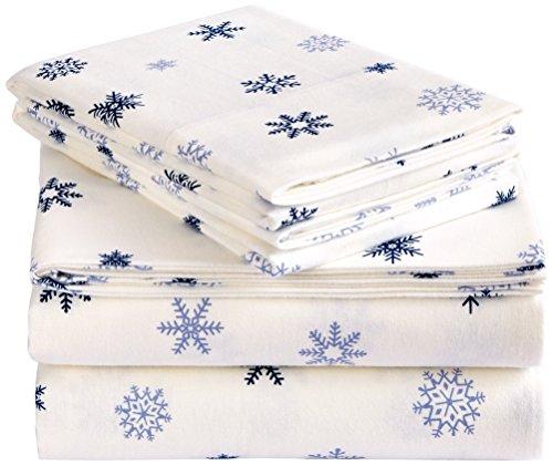 Pinzon Flannel Sheet Set – Cal King, Falling Snowflake Blue