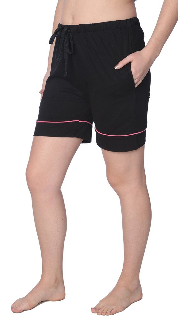 Beverly Rock Women's Short Jersey Knit Pajama Lounge Pant Available in Plus Size WJL01_18 Black 2X