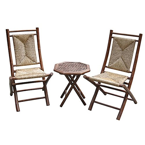 Heather Ann Creations 3-Piece Bamboo Bistro Set with Triangle Weave, Brown and Natural