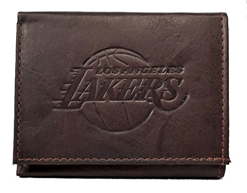 Rico Los Angeles LA Lakers NBA Embossed Logo Dark Brown Leather Trifold Wallet by Rico