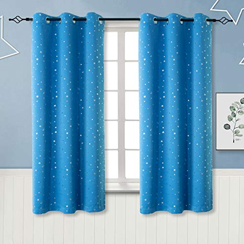 BGment Kids Blackout Curtains for Bedroom - Silver Star Printed Thermal Insulated Room Darkening Grommet Curtains for Living Room, Set of 2 Panels (42 x 63 Inch, Sky Blue)