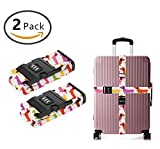 SWEET TANG Add A Bag Luggage Straps, Suitcase Belt Cartoon Dachshund Dog Travel Accessories 2-Pack