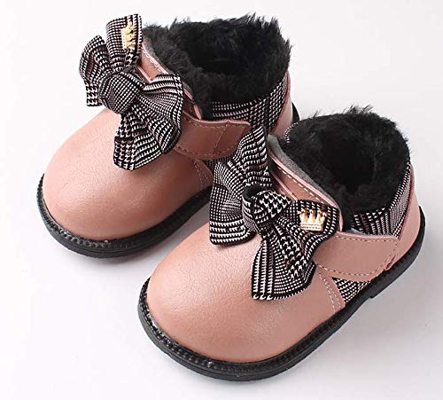 New Winter Martin Snow Boots (Toddler/Little Kid),2019 Winter Children's Shoes Children's Martin Boots Korean Version of The Leather Girls Cotton Shoes Children's Snow Boots (Pink, 13.5cm)