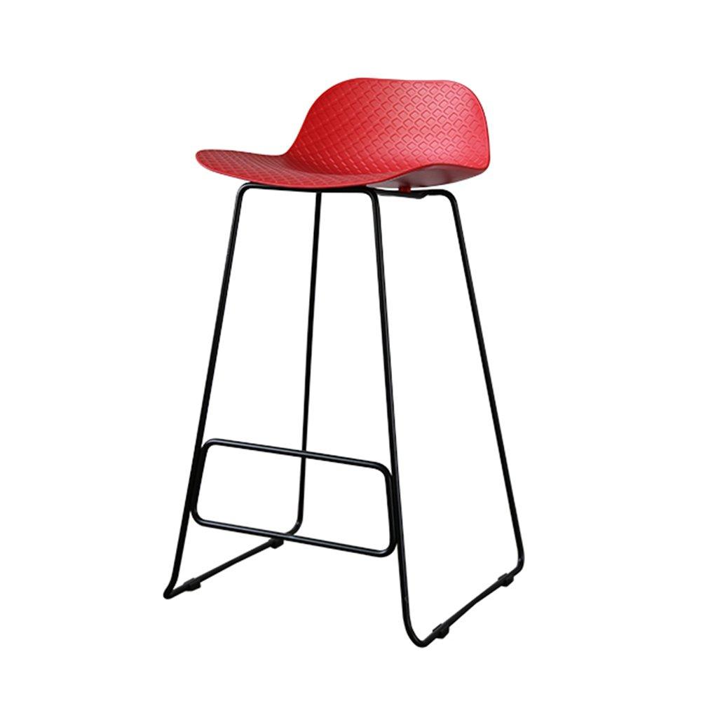 XIAOYAN ノルディックスタイルダイニングチェアモダンPP素材+メタルレッグオフィスチェアファッション家庭用ハイスツールクラシックバースツールフロントベンチブラックグレーホワイトレッドイエローグリーン (色 : Red) B07DP9PS3Z Red Red