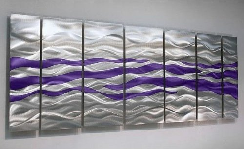 Amazon.com: Extra Large Purple U0026 Silver Handpainted Contemporary Metal Wall  Art Sculpture   Multi Panel Modern Home Décor Wall Accent   Caliente Purple  XL ...