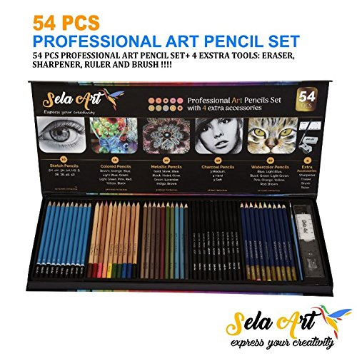 Sela Art-54 Pcs professional Art Pencil Set! Great For Drawing and Coloring. All in one: colored, watercolor, charcoal, metallic, sketch pencils + 4 accessories: brush, sharpener, eraser, and ruler !