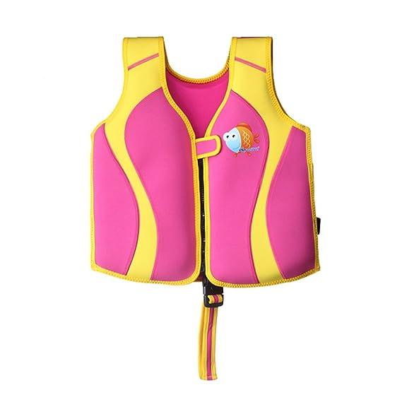 ZEEUPAI - Chaleco Flotador de Neopreno con Diseño único de la Aleta Dorsal para Niños - Chaleco de Natación para Niña Niño (M, Rosa + Amarillo): Amazon.es: ...