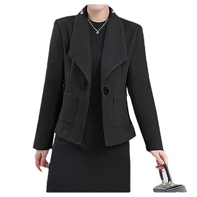VITryst Womens Fall Winter Woolen Notch Lapel 1 Button Fitness Jacket Blazer: Ropa y accesorios