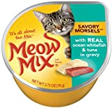 Meow Mix Savory Morsels with Real Ocean Whitefish and Tuna, 2.75-Ounce (Pack of 24), My Pet Supplies