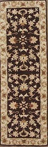 New Agra All-Over Floral Hand-Tufted 3x8 Brown Wool Oriental Runner Rug (7' 10
