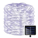 Solar Christmas Rope Lights 100LED(33ft) Solar Powered Copper Wire String Lights Thanksgiving Fairy Decor Lights Decoration for Holiday, Christmas Tree, Wedding, Party, Garden, Lawn, Patio, White Wire