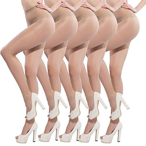 Petite Spandex Pantyhose (Pantyhose for Women Sheer Stockings 5 Packs Full Length Reinforced Toe 15 Denier(Beige,S/M))